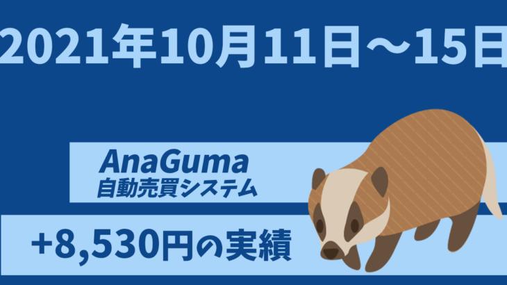 【運用実績】自動売買システム「AnaGuma(アナグマ)」2021年10月11日~15日は+8,530円の実績!!